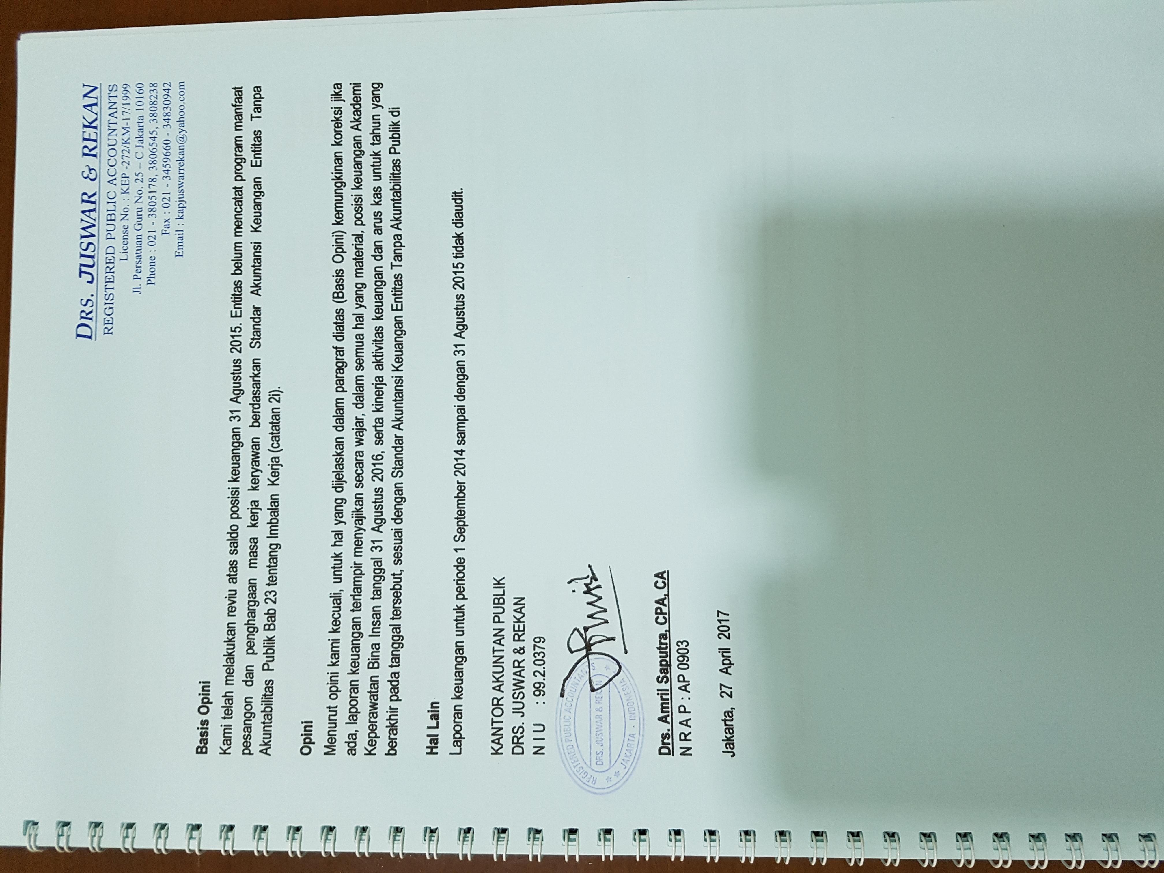 Laporan Audit Eksternal Akuntan Publik Independen Keuangan Akper Bina Insan 2017 Akper Bina Insan Akademi Keperawatan Bina Insan Jakarta